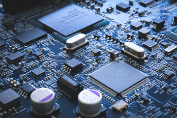 Electronic circuit board semiconductor and motherboard hardware digital concept industry technology background computer server cpu