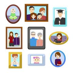 Cartoon Family Photos in Color Frames Set. Vector