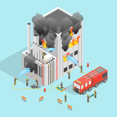 Firefighter and Building on Fire Concept 3d Isometric View. Vector