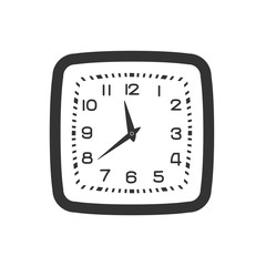 Black and white wall clock isolated on white background