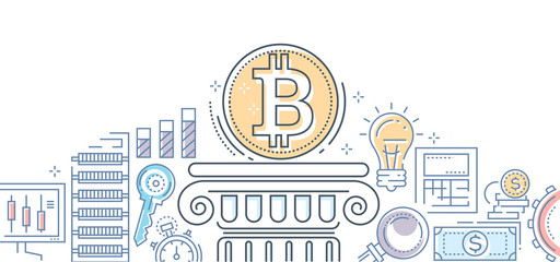 Bitcoin business - colorful line design style illustration