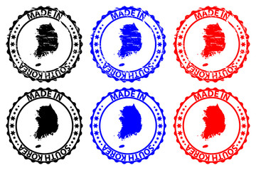 Made in South Korea - rubber stamp - vector, Republic of Korea map pattern - black, blue and red