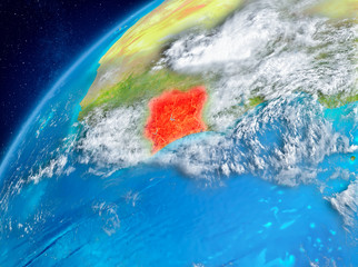 Space view of Ivory Coast in red