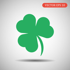 green shamrock icon. vector illustration eps 10