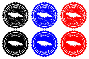 Jamaica - rubber stamp - vector, Jamaica map pattern - sticker - black, blue and red