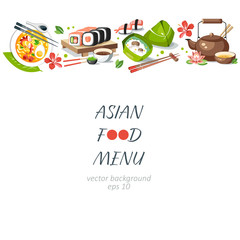 Asian food background horizontal menu dishes chinese traditional cuisine japanese thai frame background border