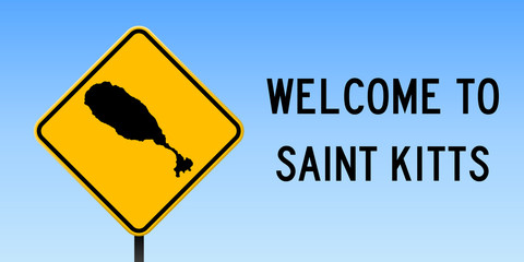 Saint Kitts map on road sign. Wide poster with Saint Kitts island map on yellow rhomb road sign. Vector illustration.
