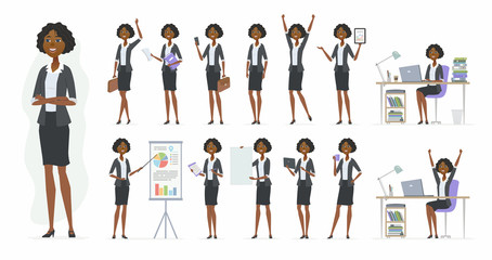 African businesswoman - vector cartoon people character set Wall mural