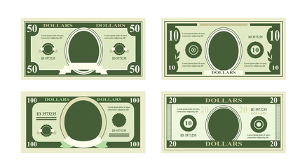 Vector illustration of fake dollars banknotes. Bill one hundred dollars suitable for discount cards on white background in flat style.