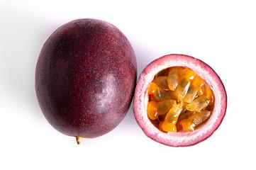 passion fruit & slice isolated on white background