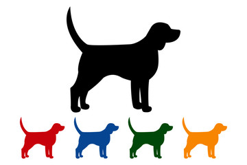 Dog icon, black silhouette on white background