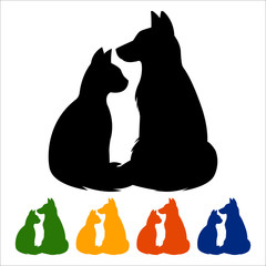Cat and dog icon, black silhouette on white background