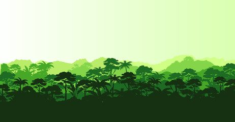 Vector illustration of horizontal panorama tropical rainforest in silhouette style with trees and mountains, jungle concept.