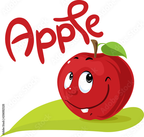 Apple Character Flat Design With Text And Leaf Symbol Stock Image