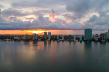 Aerial image sunset over Brickell Miami and Bayfront condominiums