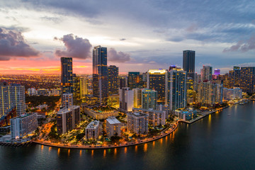 Aerial drone photo of Brickell on the bay Miami Florida twilight