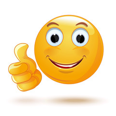 Smiley thumb up. Laik. Cool. Emoticon showing thumb up. Vector illustration
