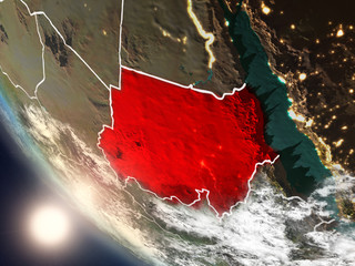 Sunset above Sudan from space