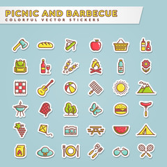 Picnic and barbecue colorful sticker icons.