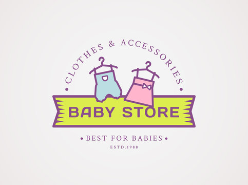 Baby shop logo. Vector symbol with children's clothes.