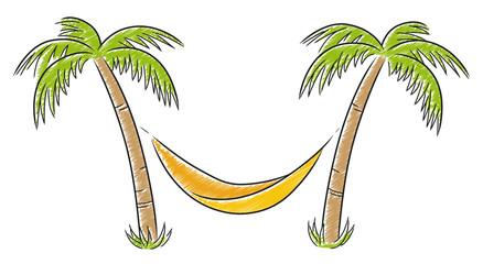 Zwei Palmen mit Hängematte / Schraffierte Vektor-Zeichnung
