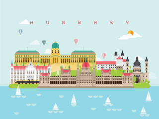 Hungary Famous Landmarks Infographic Templates for Traveling Minimal Style and Icon, Symbol Set Vector Illustration Can be use for Poster Travel book, Postcard, Billboard