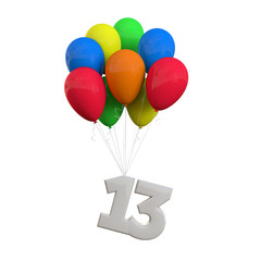 Number 13 party celebration. Number attached to a bunch of balloons. 3D Rendering