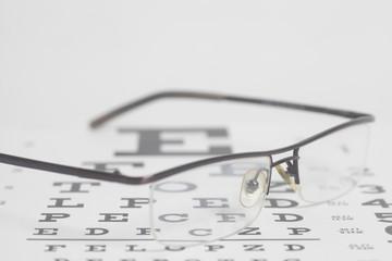 Eyeglasses on eyesight test chart background.