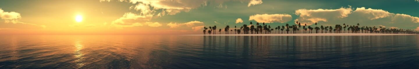 ocean sunset, panorama, sunrise over the water, clouds over the sea, 3D rendering