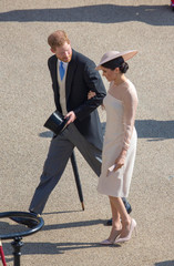 Britain's Prince Harry and his wife Meghan, Duchess of Sussex attend a garden party at Buckingham Palace, their first royal engagement as a married couple, in London