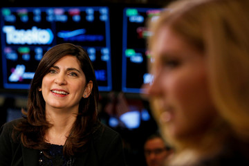 NYSE Chief Operating Officer Stacey Cunningham, speaks during an interview on the floor of the NYSE in New York