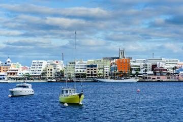 View across the harbor at the city of Hamilton, Bermuda.