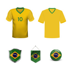 Set of T-shirts and flags of the national team of Brazil. Vector illustration.
