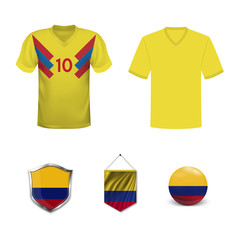 Set of T-shirts and flags of the national team of Colombia. Vector illustration.