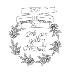 wedding and married invitation with wreath and ribbon vector illustration