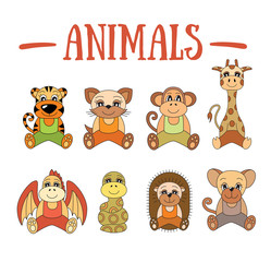 Animal set. Wild and farm. Tiger, cat, monkey, giraffe, dragon, snake, hedgehog, mouse, rat, pet. Cartoon illustrations for kids