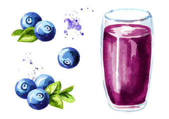 Glass of blueberry Juice and fresh ripe berries set. Watercolor hand drawn illustration, isolated on white background