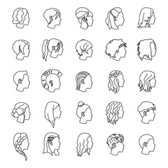 Female hairstyles outlines vector icons