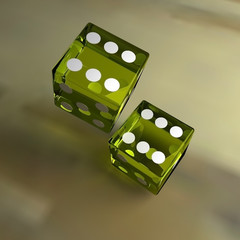3d rendering of a 3d illustration featuring yellow transparent dice in a 12 configuration