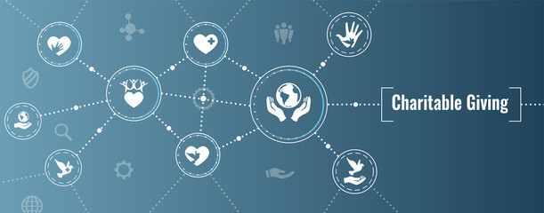 Charity and relief work - Charitable Giving Web banner with icon set