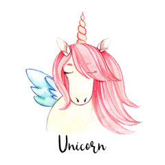 Hand drawn watercolor illustration.Cute unicorn with pink hair. Perfect for invitations, greeting cards, prints, posters