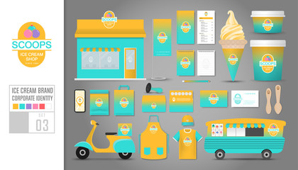 Corporate identity template Set 3. Logo concept for ice cream shop, cafe, restaurant. Realistic mock up template set of shop, car, t-shirt, apron, cap, cup, menu, rubber stamp, scooter, package.