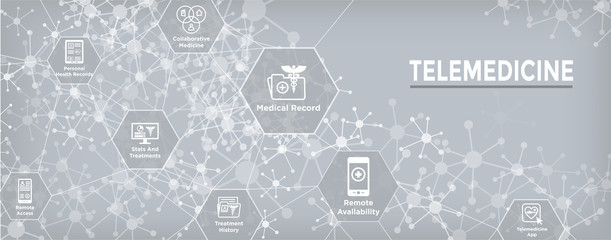 Telemedicine header banner for web - icon set with telehealth, ehr, phr, emr