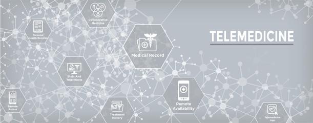 Telemedicine header banner for web - icon set with telehealth, ehr, phr, emr