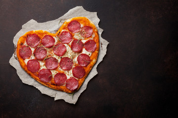 Heart shaped pizza with pepperoni