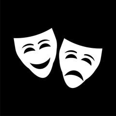 Theater mask line icon on dark background