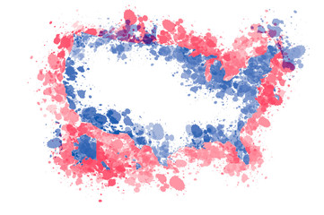 United States outline silhouette with ink splash in national colours