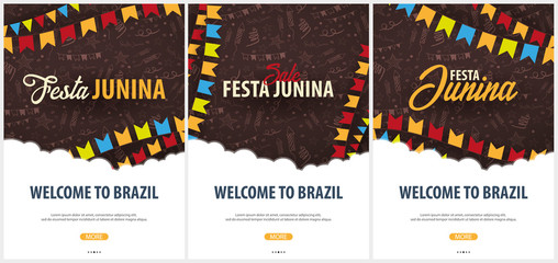 Set of Festa Junina backgrounds with hand draw doodle elements and party flags. Brazil or Latin American holiday. Vector illustration