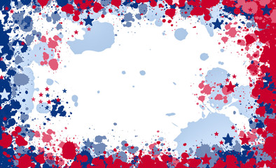 Paint splash frame in the national colours of the United States of America with copy space