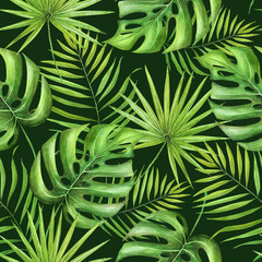 watercolor seamless pattern of tropical green leaves on a dark background